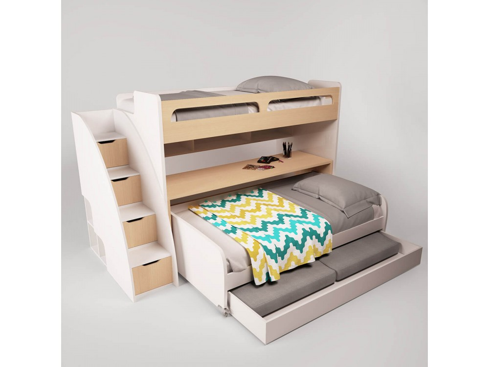 Gautreau Twin Over Twin L Shaped Bunk Bed With Trundle