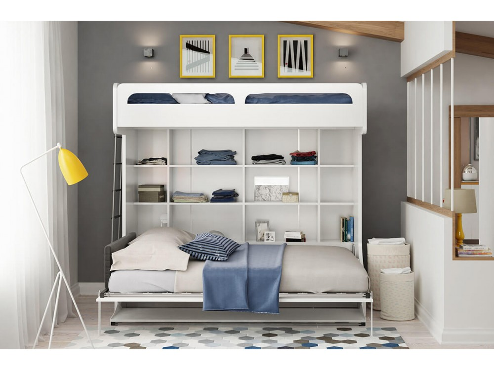 Twin Over Full Murphy Wall Bunk Bed With Table Castello
