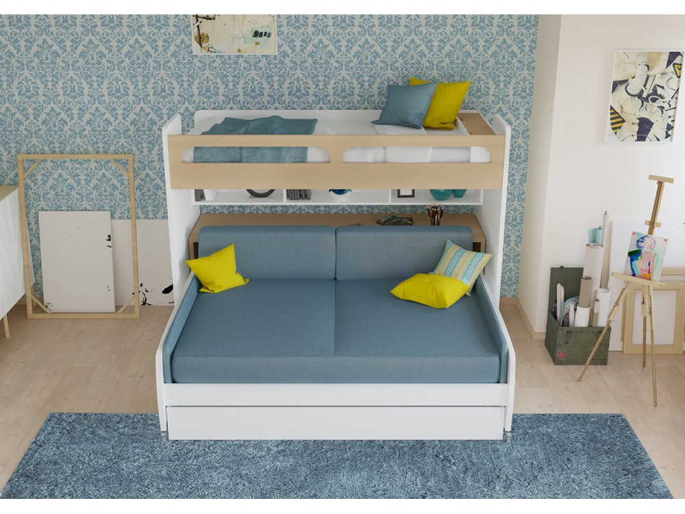 Fine Gautreau Twin Bunk Bed Over Full Xl Sofa Bed Table And Trundle Ocoug Best Dining Table And Chair Ideas Images Ocougorg