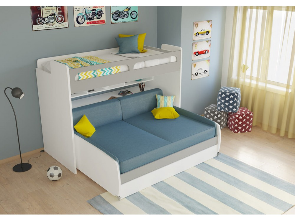 Superb Gautreau Twin Bunk Bed Over Full Xl Sofa Bed Table And Trundle Gamerscity Chair Design For Home Gamerscityorg