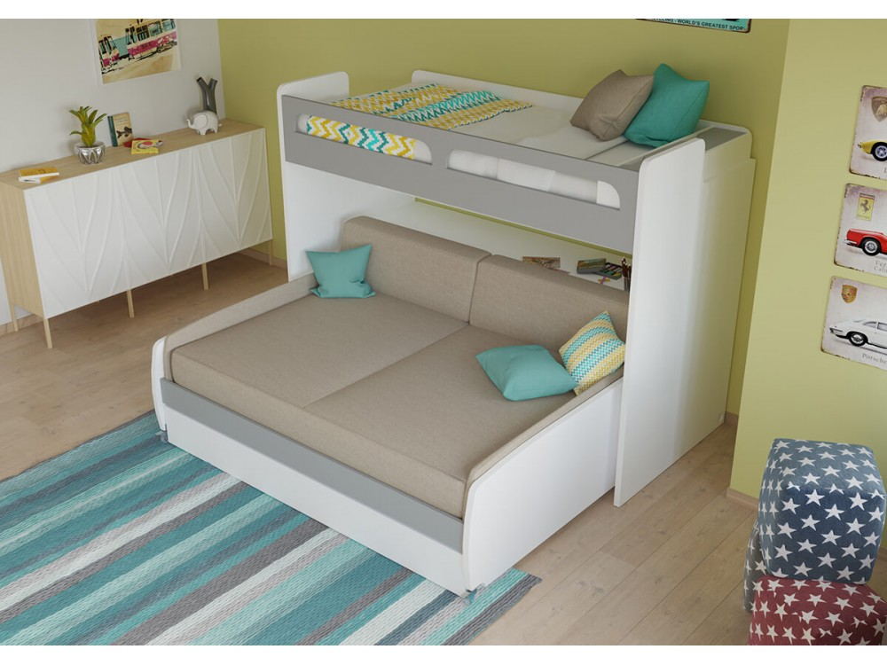 Swell Gautreau Twin Bunk Bed Over Full Xl Sofa Bed Table And Trundle Ocoug Best Dining Table And Chair Ideas Images Ocougorg
